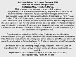 MsC. Túlio LM Morais Técnicas de Vendas e Negociações I