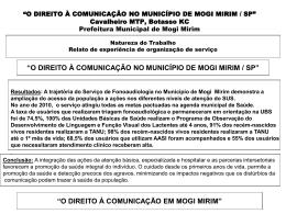 """""""O DIREITO À COMUNICAÇÃO NO MUNICÍPIO DE MOGI MIRIM"""