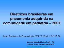 Diretrizes brasileiras em pneumonia adquirida na comunidade em