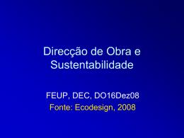 Direcção de Obra e Sustentabilidade