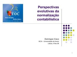 1 - Perspectivas evolutivas da normalização contabilística