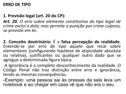 ERRO DE TIPO 1. Previsão legal