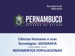 Movimentos Populacionais - Governo do Estado de Pernambuco