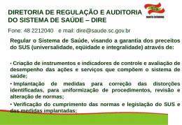 Apresentação DIRE - Secretaria Estadual de Saúde