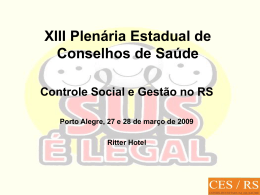Relação Controle Social e Gestão Pública da Saúde