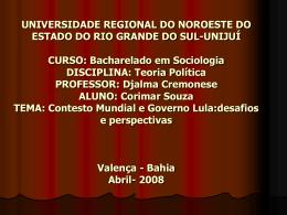 Contexto Mundial e governo Lula ppt
