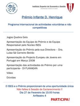 Programa Premio no ISEG