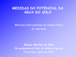 Medidas do potencial da água do solo