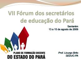 Programa de Formação de Professores do Estado do Pará - seduc