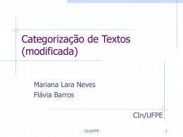 Categorização de Documentos - Centro de Informática da UFPE
