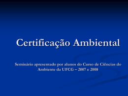 Certificação Ambiental (Gerenciamento Ambiental)