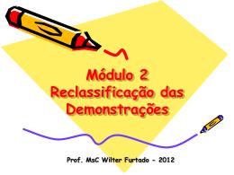 Reclassificação das Demonstrações - 2012