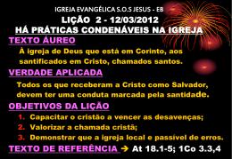 igreja evangélica sos jesus - eb lição 2