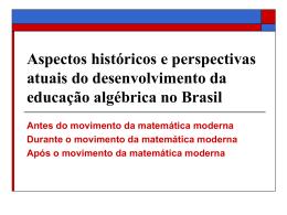 A álgebra antes do movimento da matemática moderna