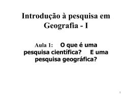 Introdução à Pesquisa em Geografia I