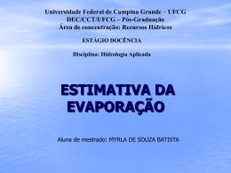 Evaporação - Área de Engenharia de Recursos Hídricos