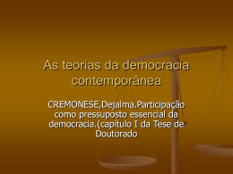 As teorias da democracia Contemporânea por