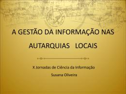 A GESTÃO DA INFORMAÇÃO NAS AUTARQUIAS LOCAIS