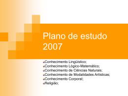 Plano de estudo 2007