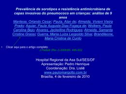 Prevalência de sorotipos e resistência antimicrobiana de cepas