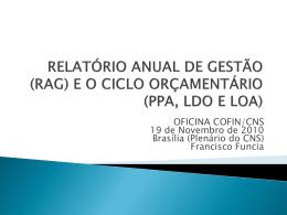 (RAG) e o Ciclo Orçamentário (PPA, LDO E LOA)