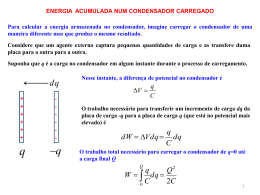 Energia dum condensador. Condensador com dieléctrico