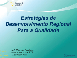 Estratégias de Desenvolvimento Regional para a Qualidade