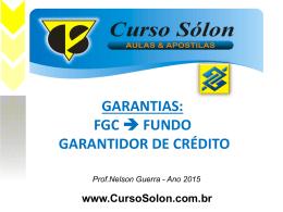 O Fundo Garantidor de Crédito