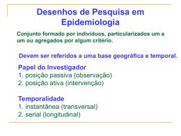 Desenhos de Pesquisa em Epidemiologia
