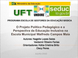 O Projeto Político Pedagógico e a Perspectiva da Educação