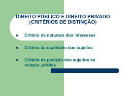 direito público e direito privado (critérios de distinção)