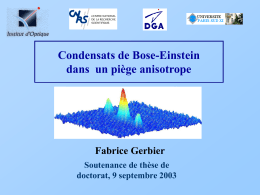 Condensats de Bose-Einstein dans un piège anisotrope