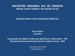 ENCONTRO REGIONAL SUL DE CONSEAS