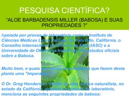 pesquisa científica aloe barbadensis miller