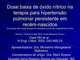 Dose baixa de óxido nítrico na terapia para hipertensão pulmonar