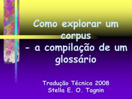 Como explorar um corpus - a compilação de um glossário