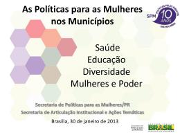 Secretarias de Políticas para as Mulheres nos municípios