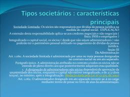 Tipos societários : características principais