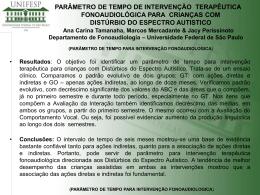 PARÂMETRO DE TEMPO DE INTERVENÇÃO TERAPÊUTICA