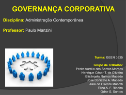 Governança Corporativa.