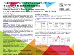 Perfil Fitoquimico, extração e isolamento de metabólitos