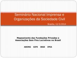 Mapeamento das Fundações Privadas e Associações Sem Fins