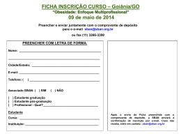 FICHA INSCRIÇÃO CURSO – Goiânia/GO