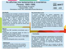 As alforrias nos testamentos e inventários – Paraná, 1860