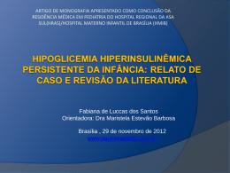 hipoglicemia hiperinsulinêmica persistente da infância