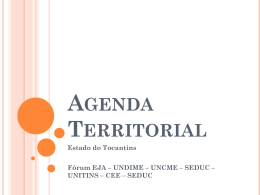 Agenda Territorial Apresentação Tocantins