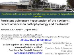 Hipertensão pulmonar persistente neonatal: recentes avanços