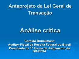 Anteprojeto da Lei Geral de Transação Análise Crítica
