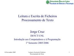 Leitura e Escrita de Ficheiros, Processamento de Texto