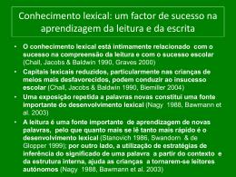 Conhecimento lexical: um factor de sucesso na aprendizagem da